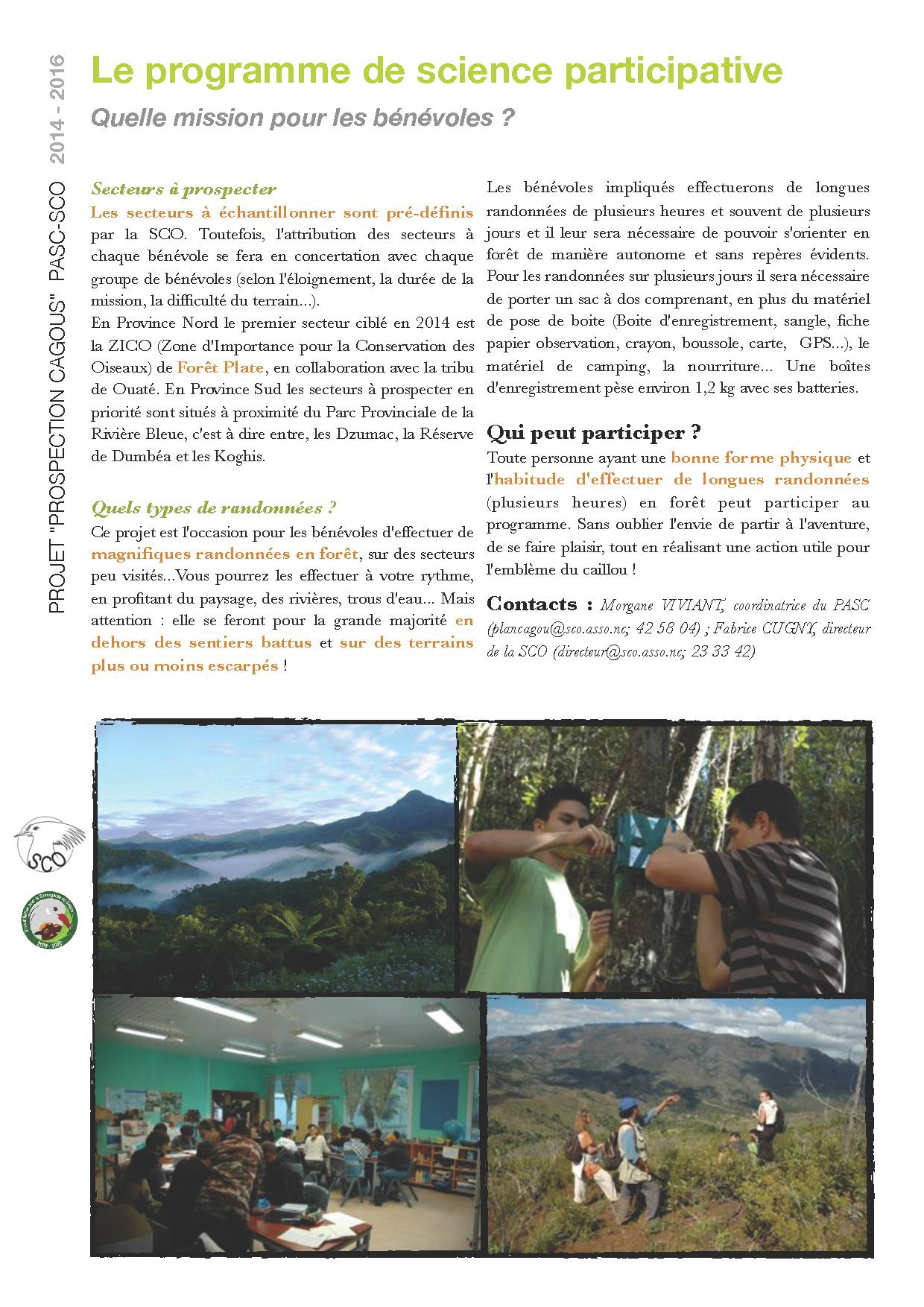 P4 Projet PROSPECTION CAGOU 2014 - Programme de science participative R