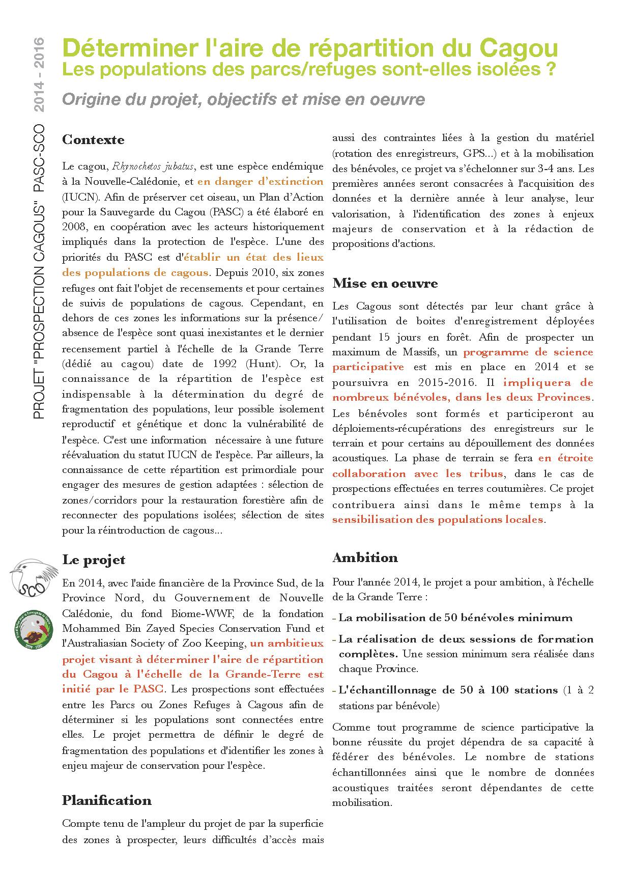 p2 Projet PROSPECTION CAGOU 2014 - Programme de science participative R