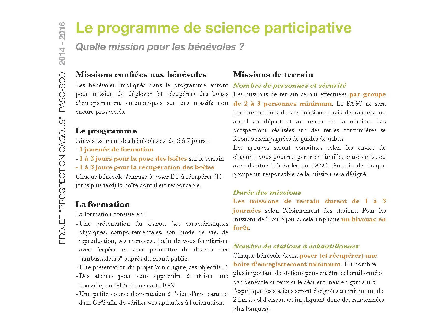 p3 Projet PROSPECTION CAGOU 2014 - Programme de science participative R